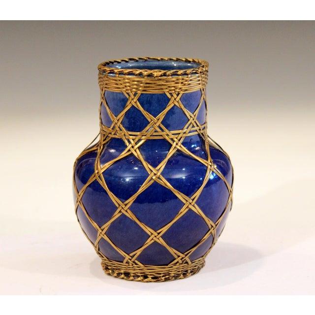 Antique Awaji Pottery Japanese Arts & Crafts Cup Brush Pot Jar Bronze Weave For Sale - Image 4 of 12