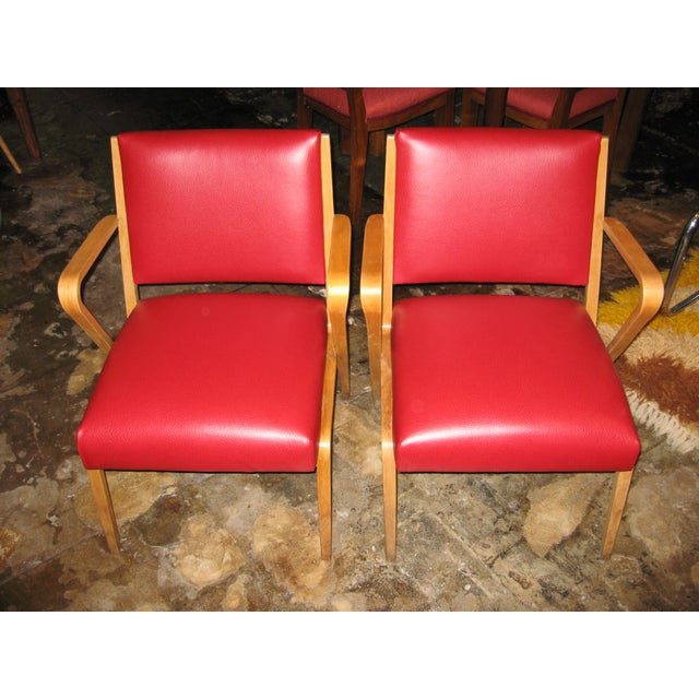German Red Patent Leather Chairs - Pair - Image 4 of 5