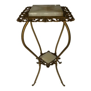 Hollywood Regency Style Metal and Marble Fern Plant Stand For Sale
