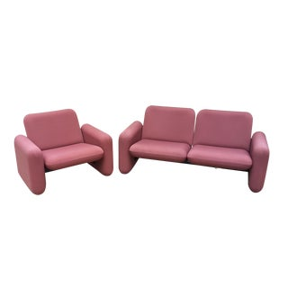 Vintage Herman Miller Chiclet Mauve Loveseat and Chair - 2 Pc. Set For Sale