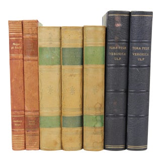Leather-Bound Books - Set of 7 For Sale