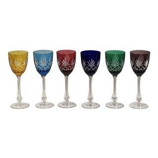 """Vintage Faberge """"Odessa"""" Hock Wine Crystal Glassware - Set of 6 For Sale"""