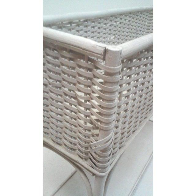 White Wicker Rectangular Planter Stand - Image 4 of 4