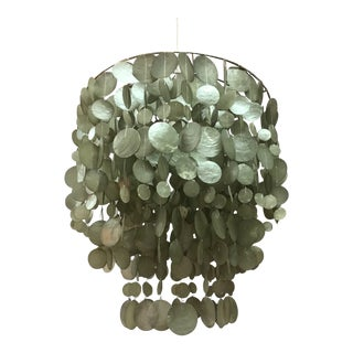 Mid Century Modern Captivating Capiz Shell Chandelier For Sale