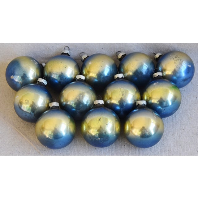 Ombre Vintage Colorful Christmas Tree Ornaments W/Box - Set of 12 For Sale - Image 4 of 10