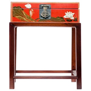 Asian Modern Lawrence & Scott Hand-Painted Water Buffalo Leather Box on Hongmu Stand For Sale