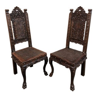 1920's Vintage Spanish Hand Tooled Carved Chairs- A Pair