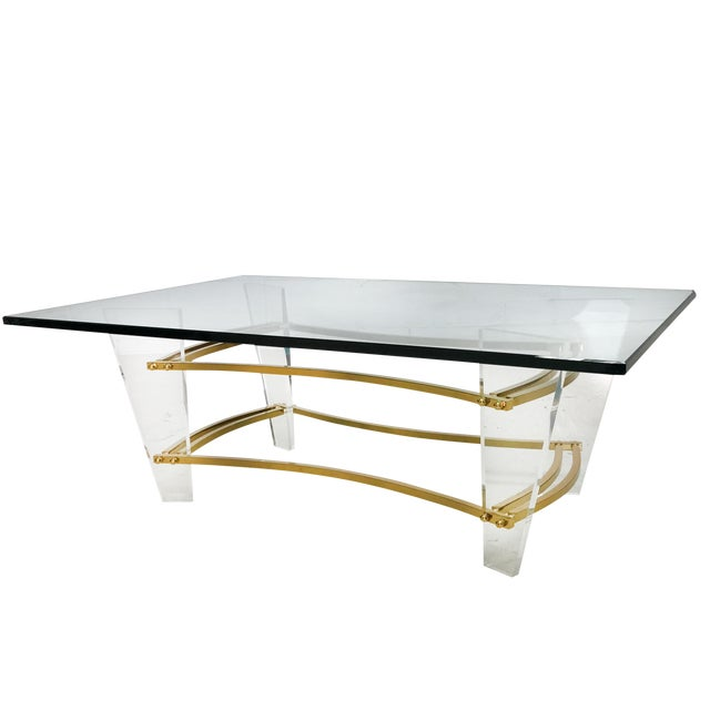 Charles Hollis Jones Brass & Lucite Coffee Table For Sale