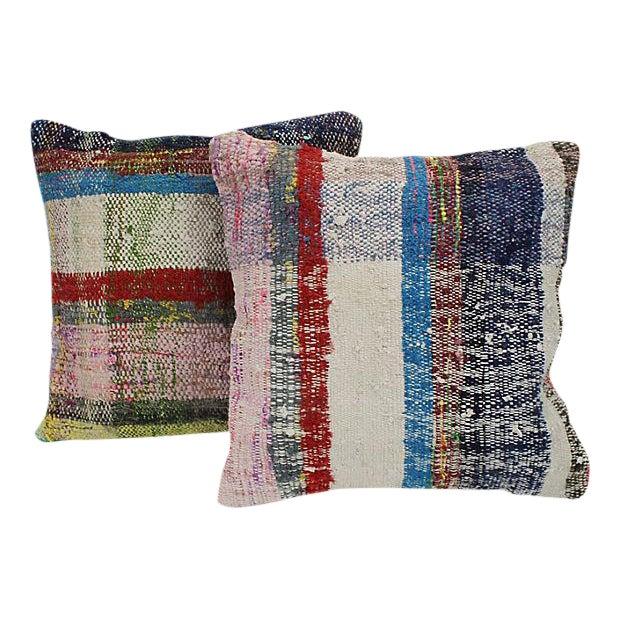 Turkish Kilim Striped Throw Pillows - a Pair - Image 1 of 4