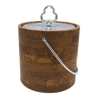 1970s 20th Century Faux Wood Ice Bucket For Sale