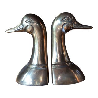 Vintage Brass Duck Head Bookends - A Pair