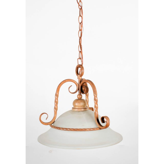 Contemporary Rustic Contemporary Metal & Glass Ceiling Fixture For Sale - Image 3 of 5