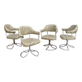 Mid Century Chrome Tulip Swivel Arm Chairs - Set of 4 For Sale