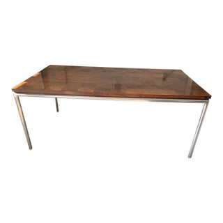 Ted Grenzbach-Designed Parquet Dining Table on Steel Base For Sale