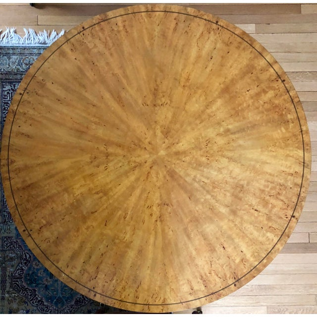 Elegant Biedermeier style center table, USA 20th century. Birch veneer with ebonized details. In very good condition. The...
