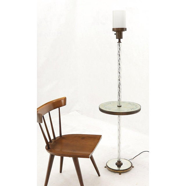Art Deco Mid-Century Modern decor floor lamp with thick twisted glass base and reversed painting built in round side...