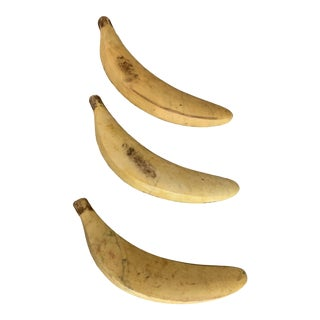 Vintage Hand-carved Italian Marble Stone Fruit Bananas - Set of 3 For Sale