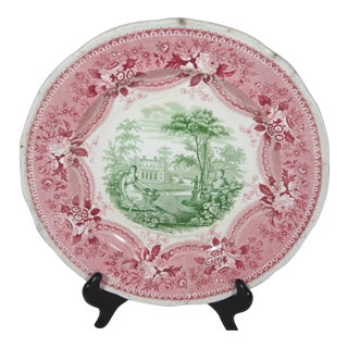 19th Century Staffordshire Grecian Gardens Plate For Sale