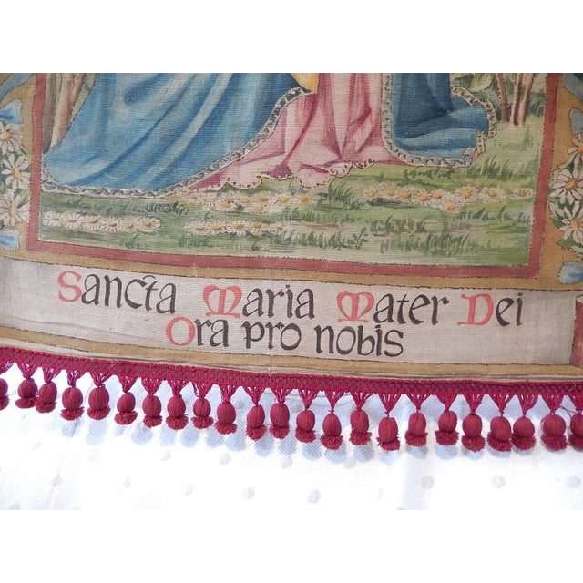 Brown 19th Century Huge Italian Religious Banner Hand-Painted For Sale - Image 8 of 11