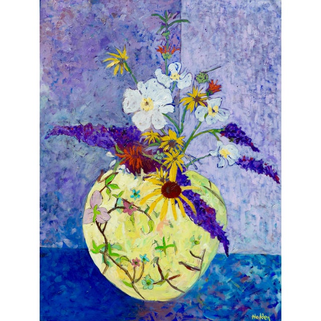 Asian Wildflowers - Large Oil Painting by Martha Holden For Sale - Image 3 of 10