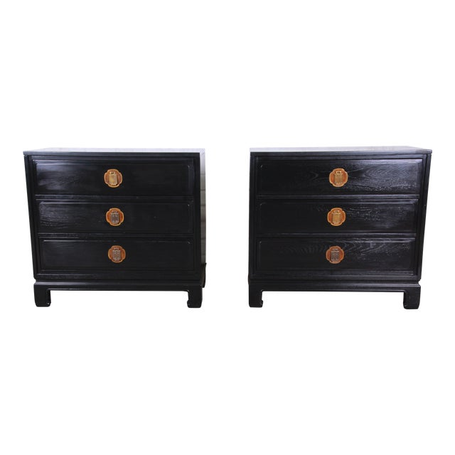 Ebonized Hollywood Regency Chinoiserie Large Nightstands or Bachelor Chests by Davis Cabinet Co., Pair For Sale