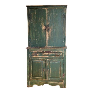 Farmhouse Primitive Step Back Cupboard For Sale