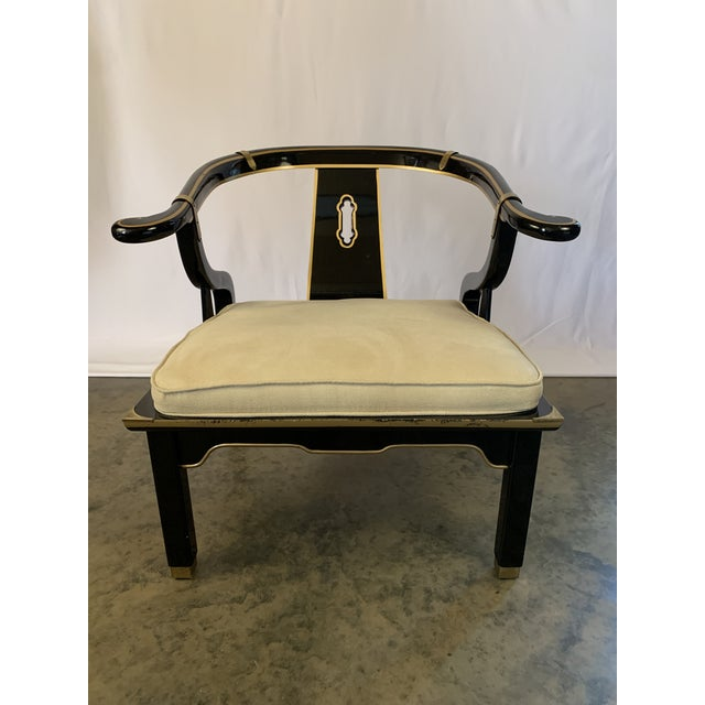 James Mont-Style Suede and Lacquer Horseshoe Lounge Chair by Century Furniture For Sale - Image 11 of 11