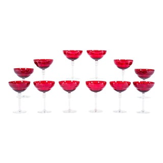 Set of 12 Red Art Deco Style Large Champagne Coupes / Martini Goblets For Sale