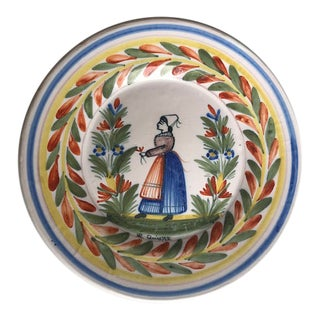 Early 20th Century French Faience- Hr Quimper Hand Painted and Signed Dinner Plate For Sale