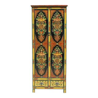 Chinese Tibetan 8 Auspicious Treasure Graphic Tall Slim Cabinet For Sale