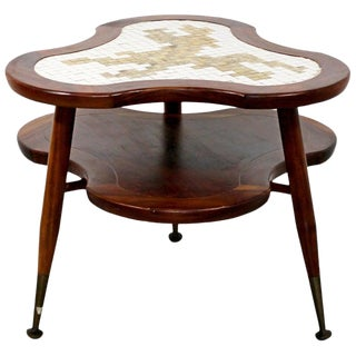 Mid-Century Modern Amoeba Shaped 2 Tier Mosaic Tile Coffee Side Table, 1960s For Sale