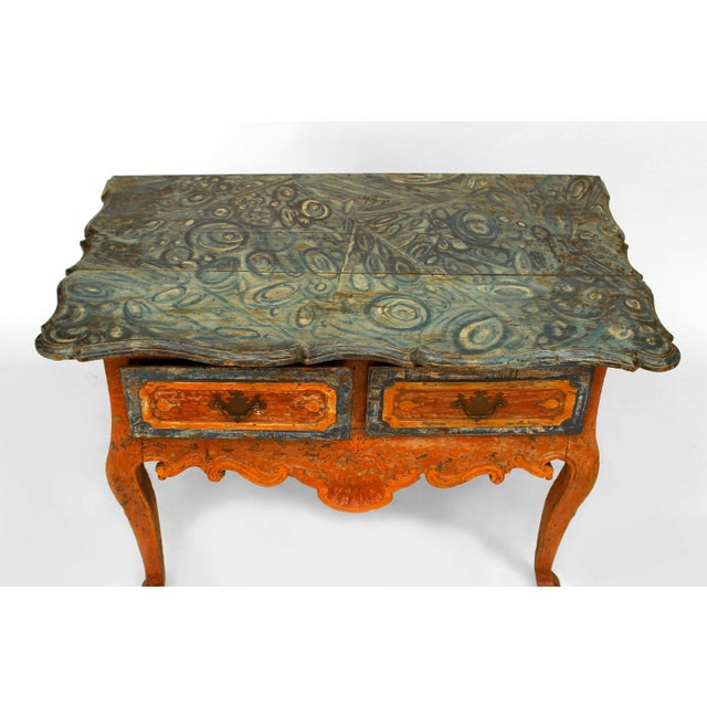 Mid 18th Century Rustic Continental 'Portuguese' 18th Century Orange and Blue Painted Commode For Sale - Image 5 of 7
