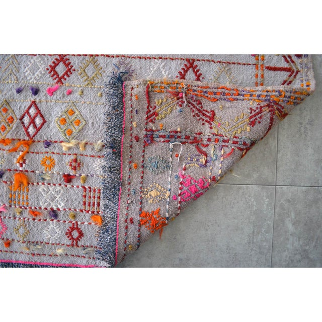 """Textile Antique Anatolian Braided Rug Hand Woven Cotton Small Rug Sofreh - 3'7"""" X 3'10"""" For Sale - Image 7 of 8"""