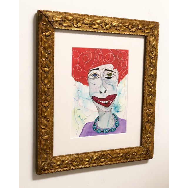 Amazingly quirky folk art portrait painting framed in antique gold frame, new custom glass, Mat and acid free backer...