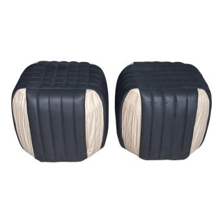 1980s Poufs Upholstered Ottomans - a Pair For Sale