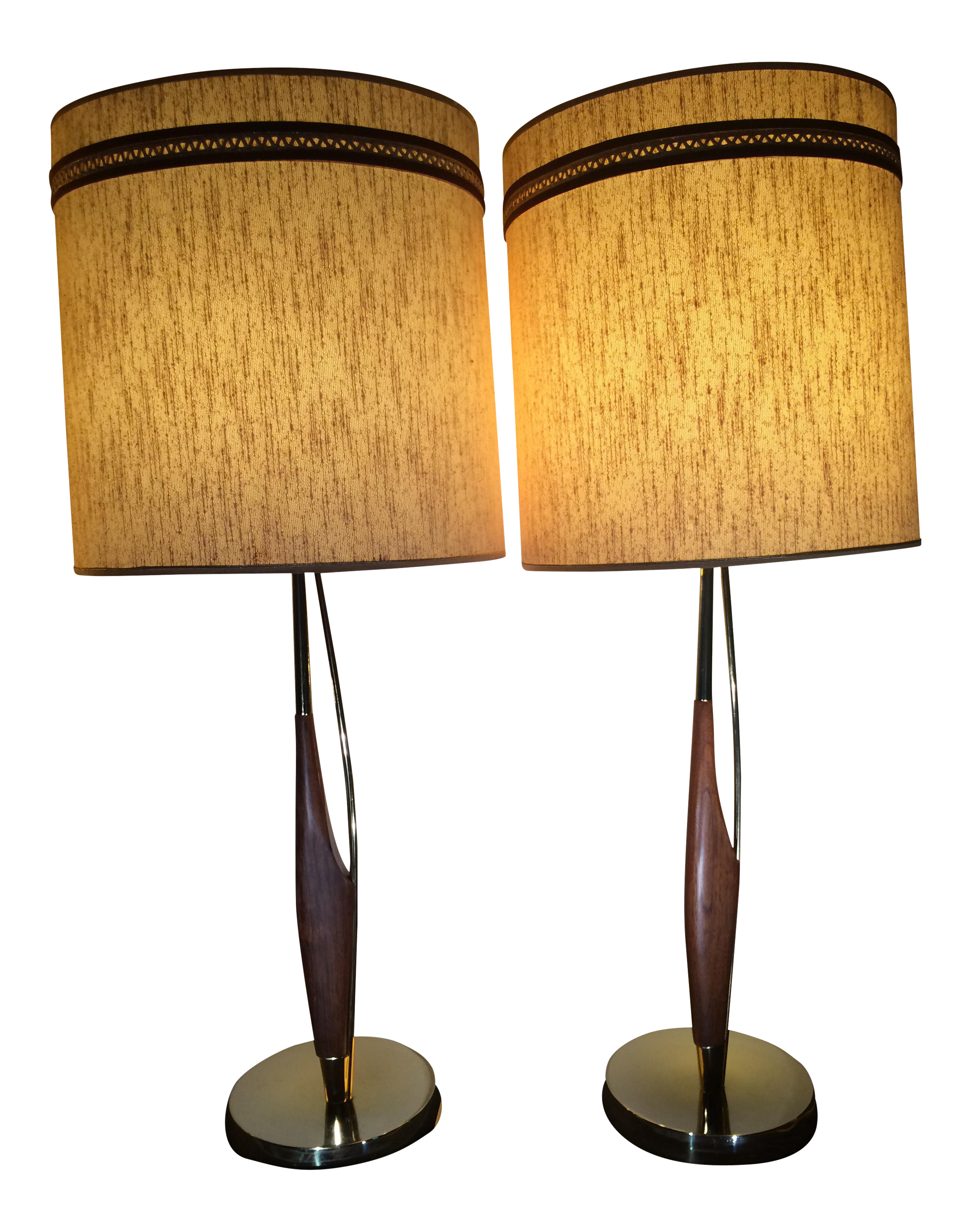 Laurel Lamps With Original Shades By Gerald Thurston   A Pair