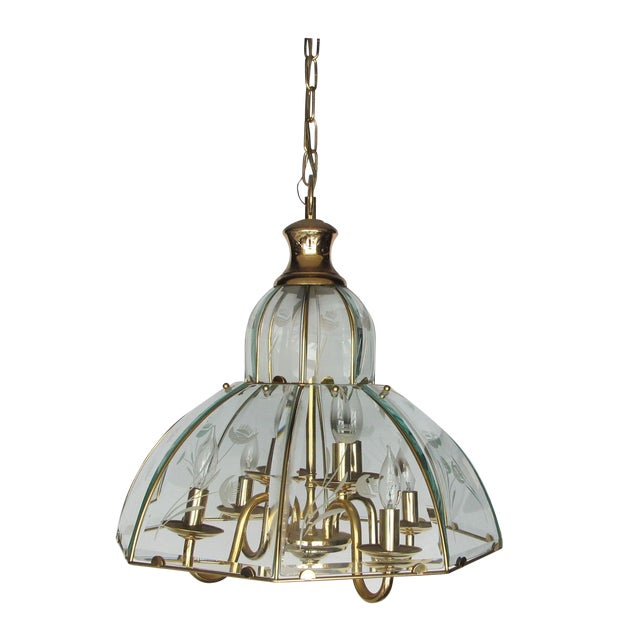 1970s Brass and Etched Glass Chandelier - Image 1 of 5