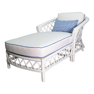 1990s Vintage Ficks Reed Double Diamond Rattan Chaise For Sale