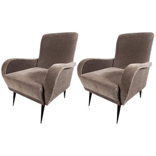Mid-Century Modern Sculptural Lounge Chairs in Smoked Platinum Mohair Velvet
