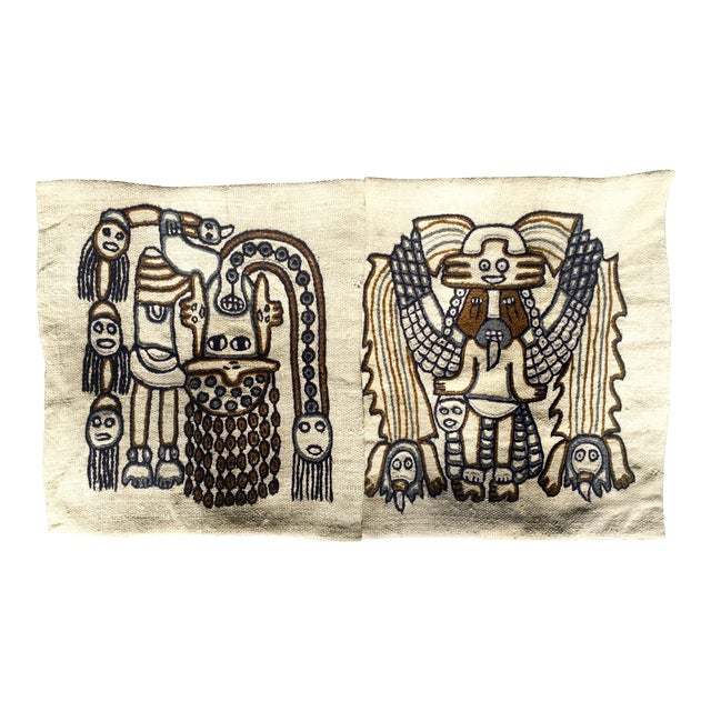 1960s Peruvian Indigenous Craft Hand Stitched Pillow Covers - a Pair For Sale