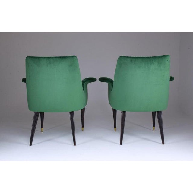 Green 20th Century Italian Armchairs- A Pair For Sale - Image 8 of 9