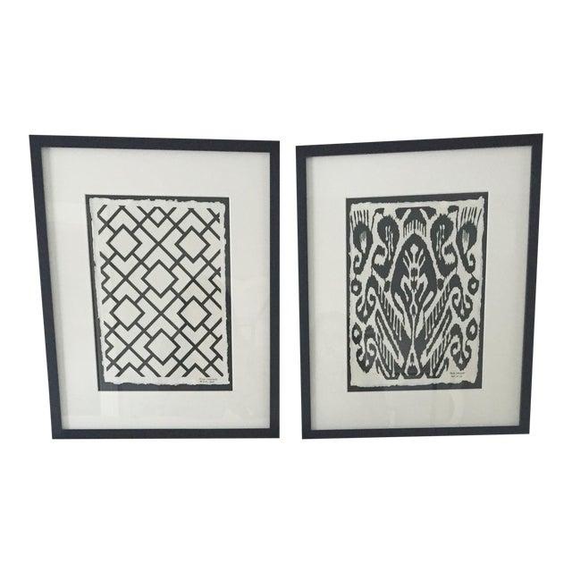 Framed Ikat Handmade Art - Pair of 2 - Image 1 of 10