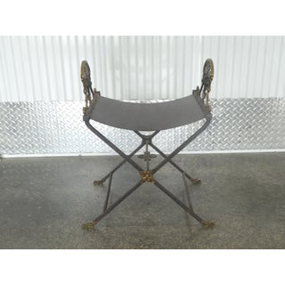 1920's Oscar Bach Style Mediterranean Iron and Brass Stool Preview