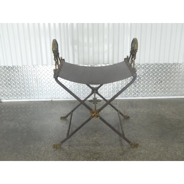 1920's Oscar Bach Style Mediterranean Iron and Brass Stool sold as found in vintge condition without damage.
