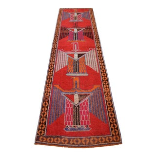 1970s Vintage Hand Knotted Tribal Turkish Runner Rug Hallway Decor Very Rare Pattern For Sale