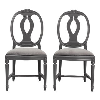 Classic Gustavian Rose Chairs- A Pair For Sale