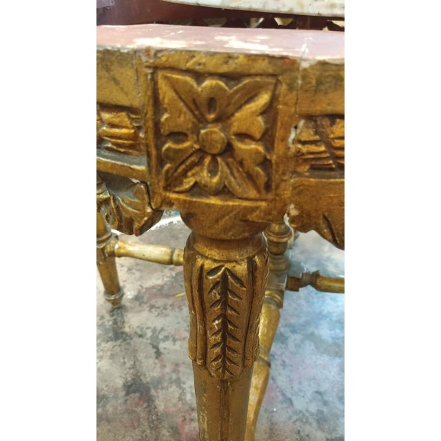 Gold 19th Century Louis XV Carved Gilt & Marble Top Coffee Table For Sale - Image 8 of 8