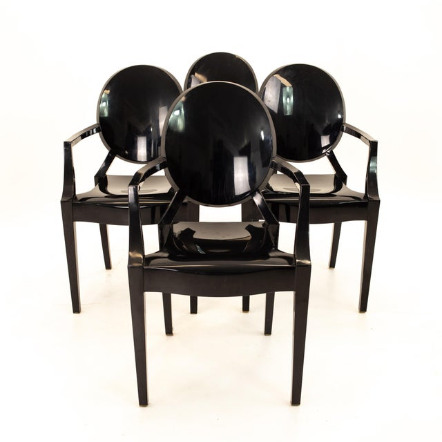 Kartell Mid Century Black Acrylic Ghost Dining Chairs - Set of 4 Each chair measures: 21.25 wide x 22 deep x 36.5 high...