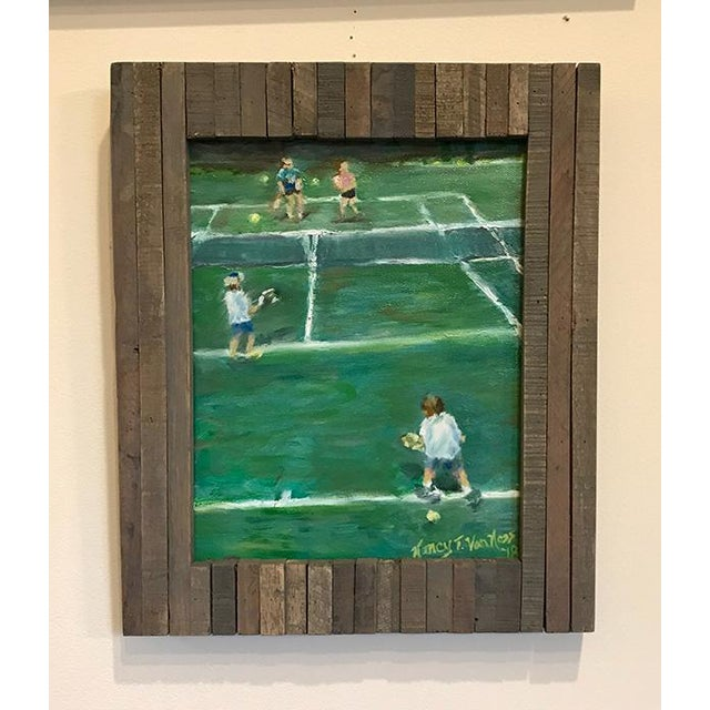 """The Tennis Game"" Original Oil Painting Framed Painting by Nancy T Van Ness For Sale - Image 12 of 13"