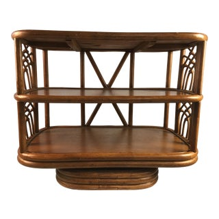 Vintage Rattan Swivel Table For Sale